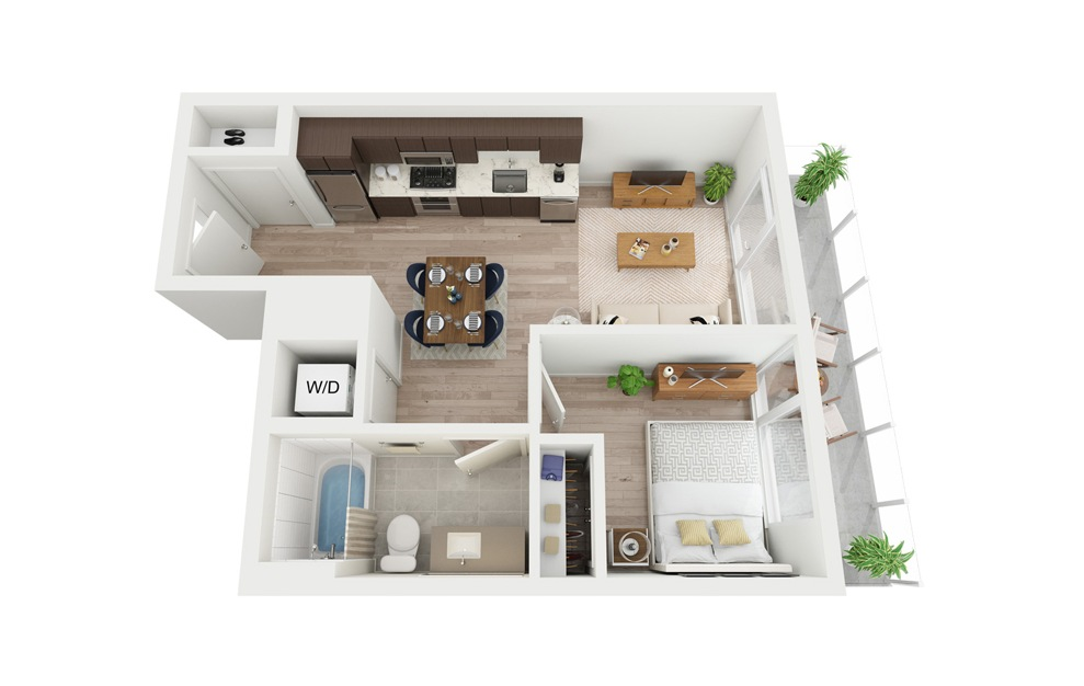 B1 - 1 bedroom floorplan layout with 1 bath and 509 square feet.