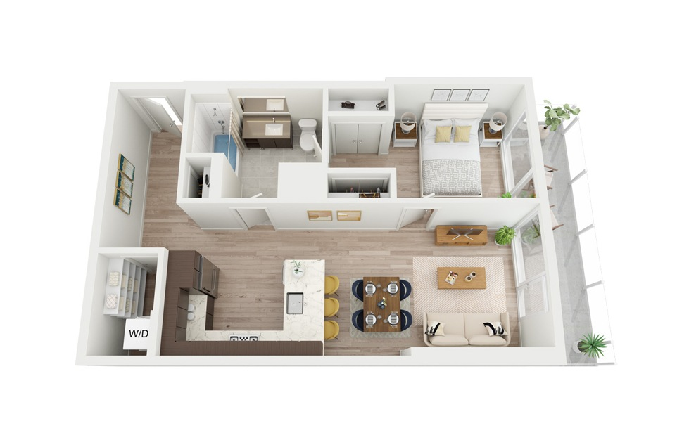 B11 - 1 bedroom floorplan layout with 1 bath and 690 square feet.
