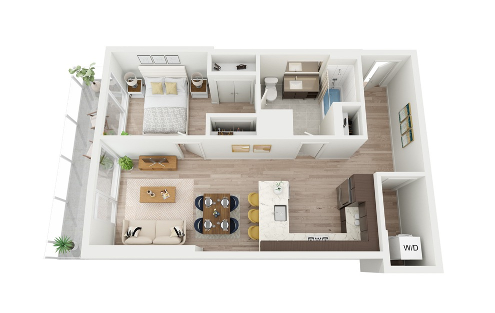 B12 - 1 bedroom floorplan layout with 1 bath and 700 square feet.