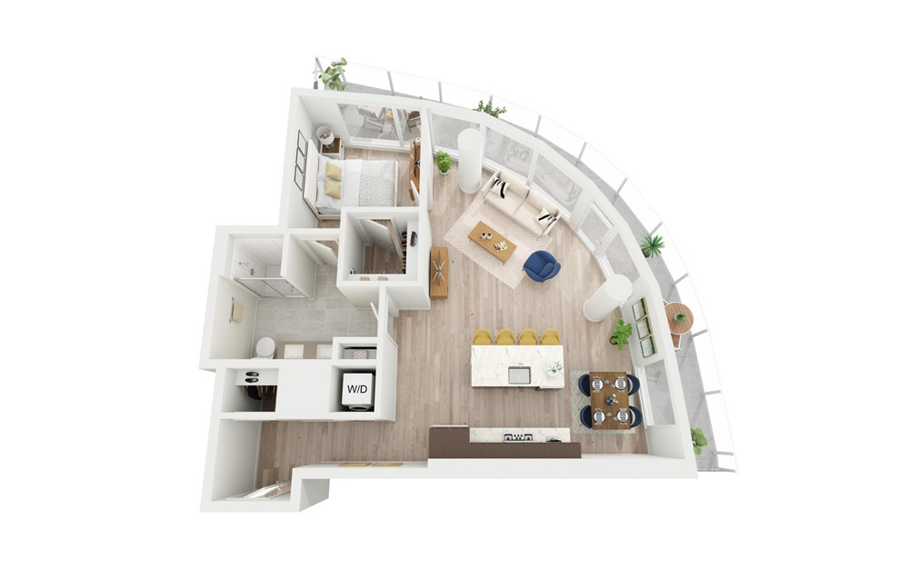 B18 - 1 bedroom floorplan layout with 1 bath and 804 square feet.