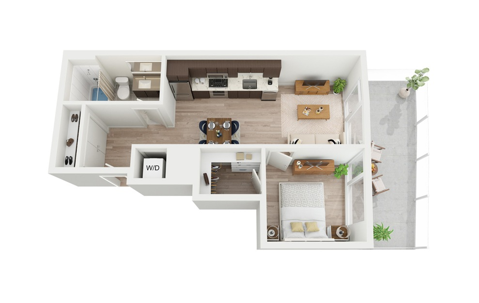 B2 - 1 bedroom floorplan layout with 1 bath and 548 square feet.