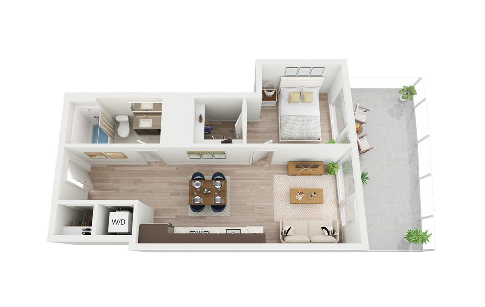 B4 - 1 bedroom floorplan layout with 1 bath and 574 square feet.