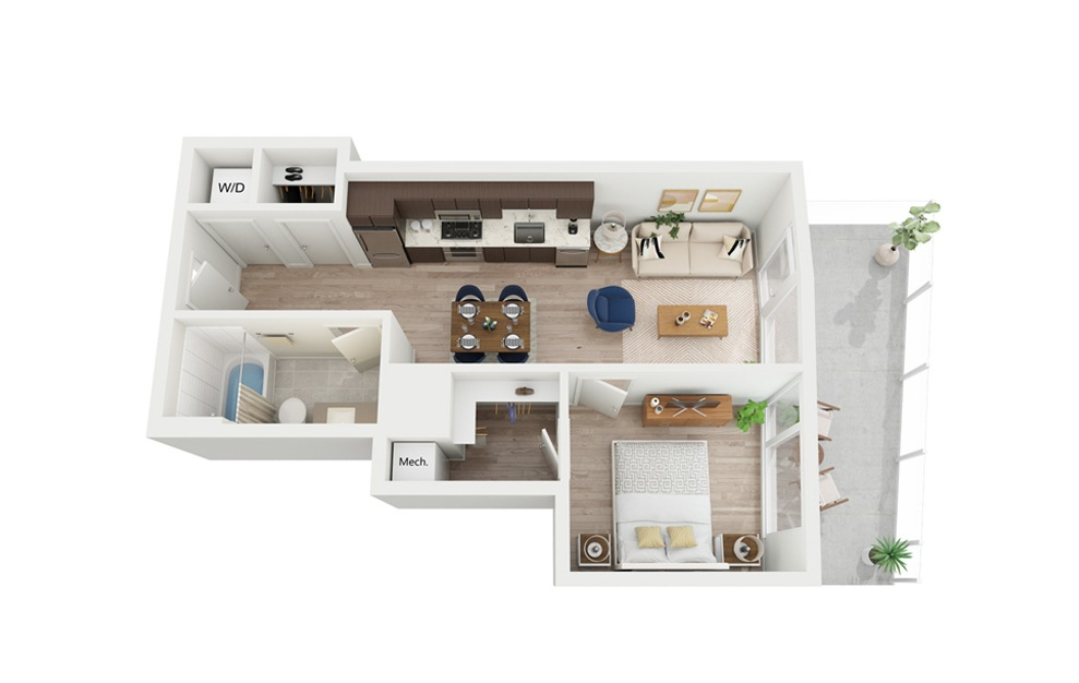 B5 - 1 bedroom floorplan layout with 1 bath and 576 square feet.