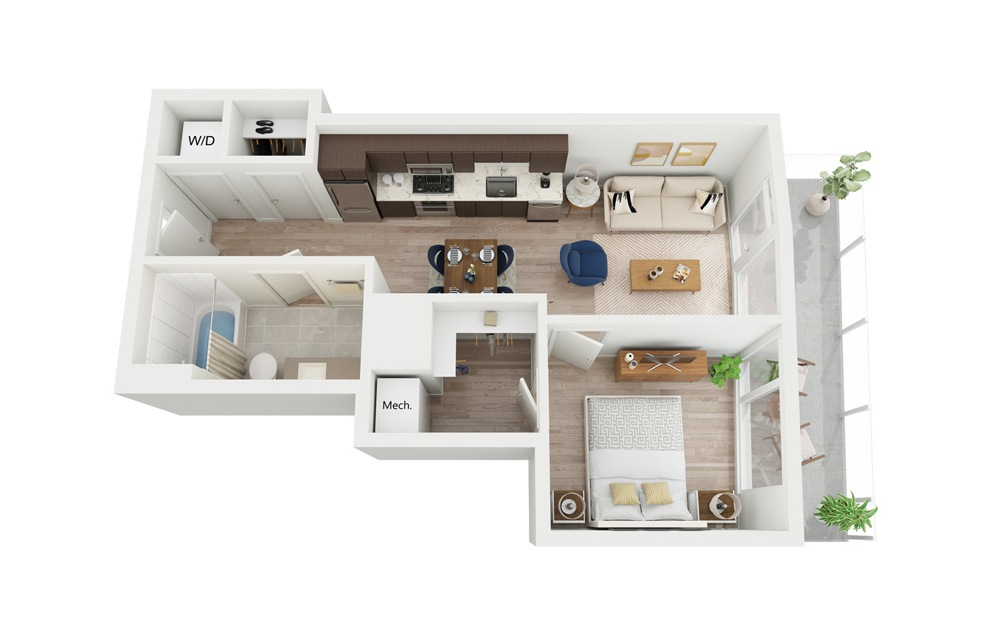 B5.1 - 1 bedroom floorplan layout with 1 bath and 574 square feet.