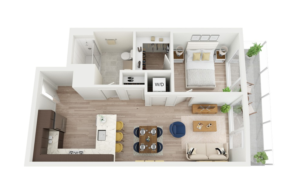 B6 - 1 bedroom floorplan layout with 1 bath and 639 square feet.