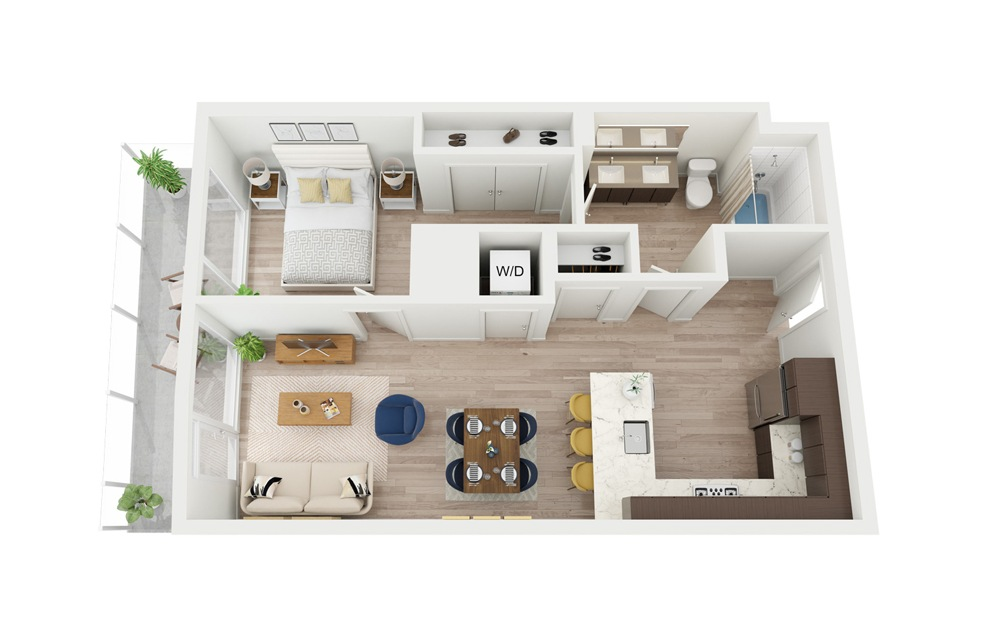 B8 - 1 bedroom floorplan layout with 1 bath and 672 square feet.