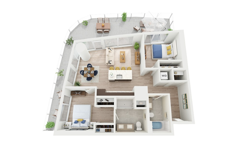 C2 - 2 bedroom floorplan layout with 2 baths and 976 square feet.