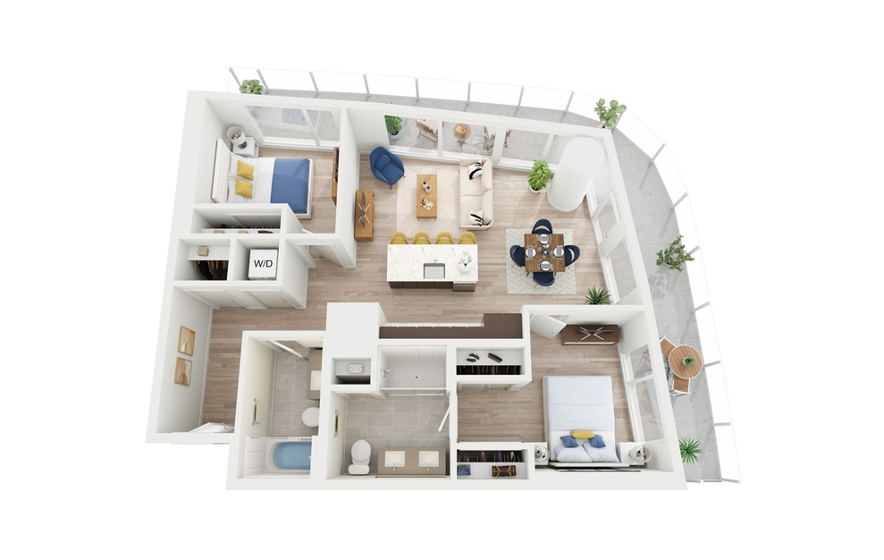C3 - 2 bedroom floorplan layout with 2 baths and 975 square feet.