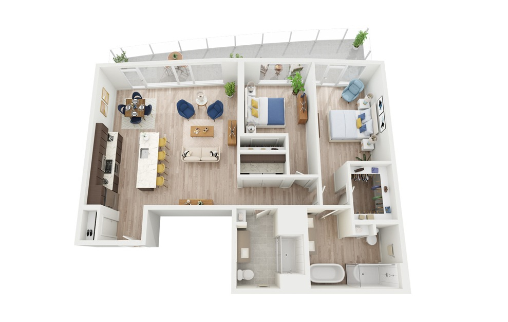 PH1 - 2 bedroom floorplan layout with 2 baths and 1223 square feet.