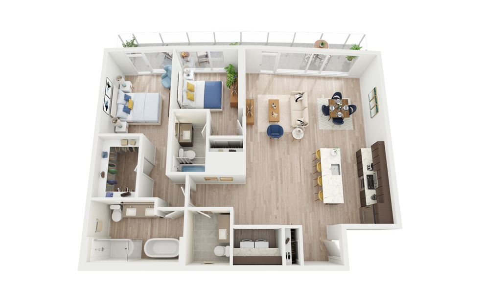 PH2 - 2 bedroom floorplan layout with 2.5 baths and 1341 square feet.