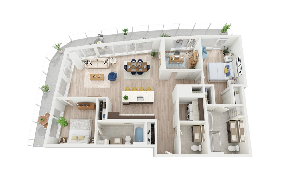 PH3 - 2 bedroom floorplan layout with 2.5 baths and 1429 square feet.