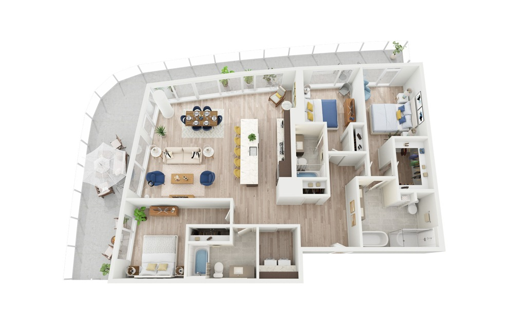 PH5 - 3 bedroom floorplan layout with 3 baths and 1658 square feet.