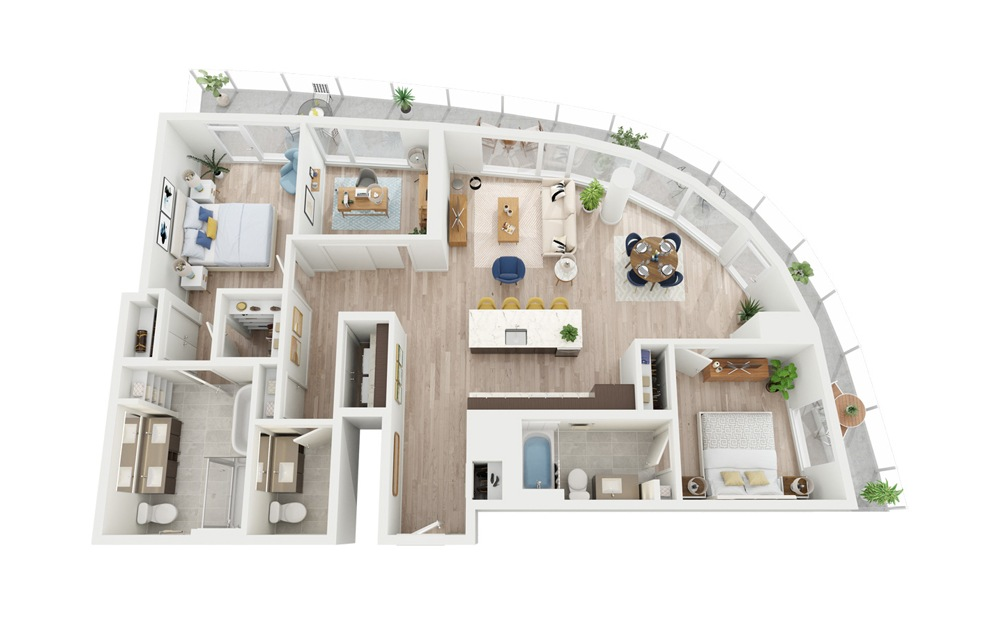 PH6 - 2 bedroom floorplan layout with 2.5 baths and 1392 square feet.